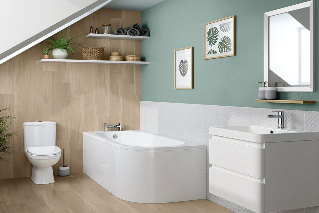 athroom suite having bath, sink and toilet