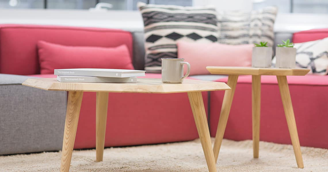 pink sofa and coffee table