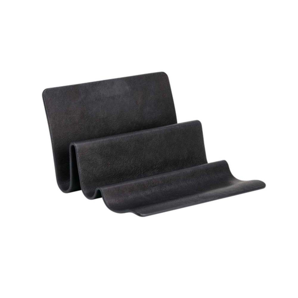 black waved organizer in leather for office desks