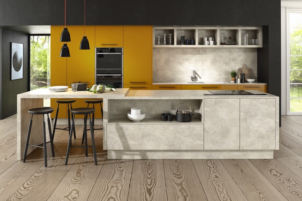 yellow and grey modern scandinavian kitchen design