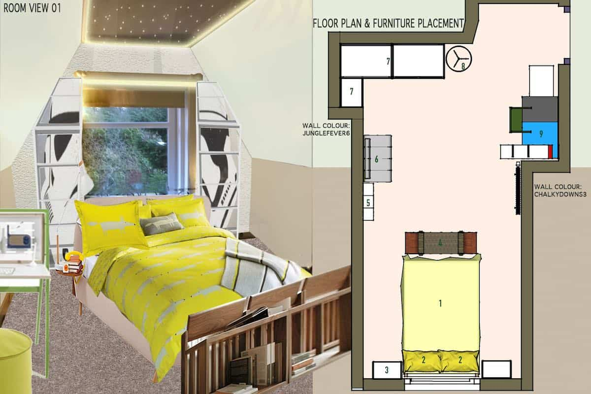 Design concept and floor layout of kid's bedroom.