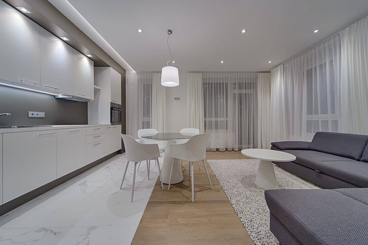 The single galley kitchen in open plan living room.