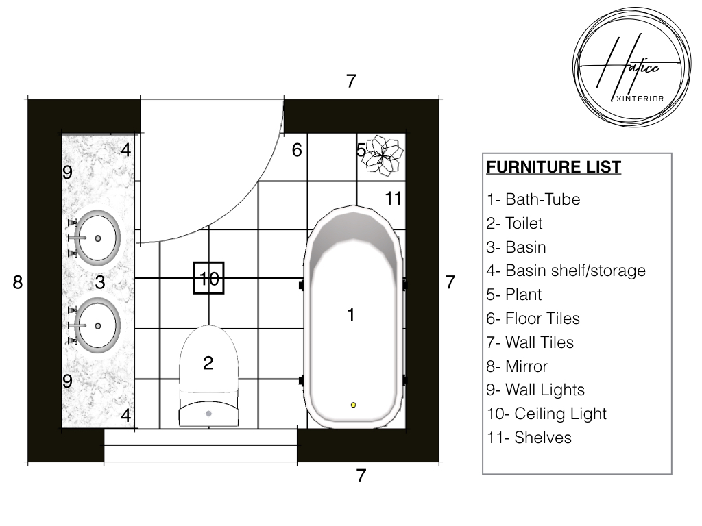 Technical drawing of the furniture layout. Alternative 02.