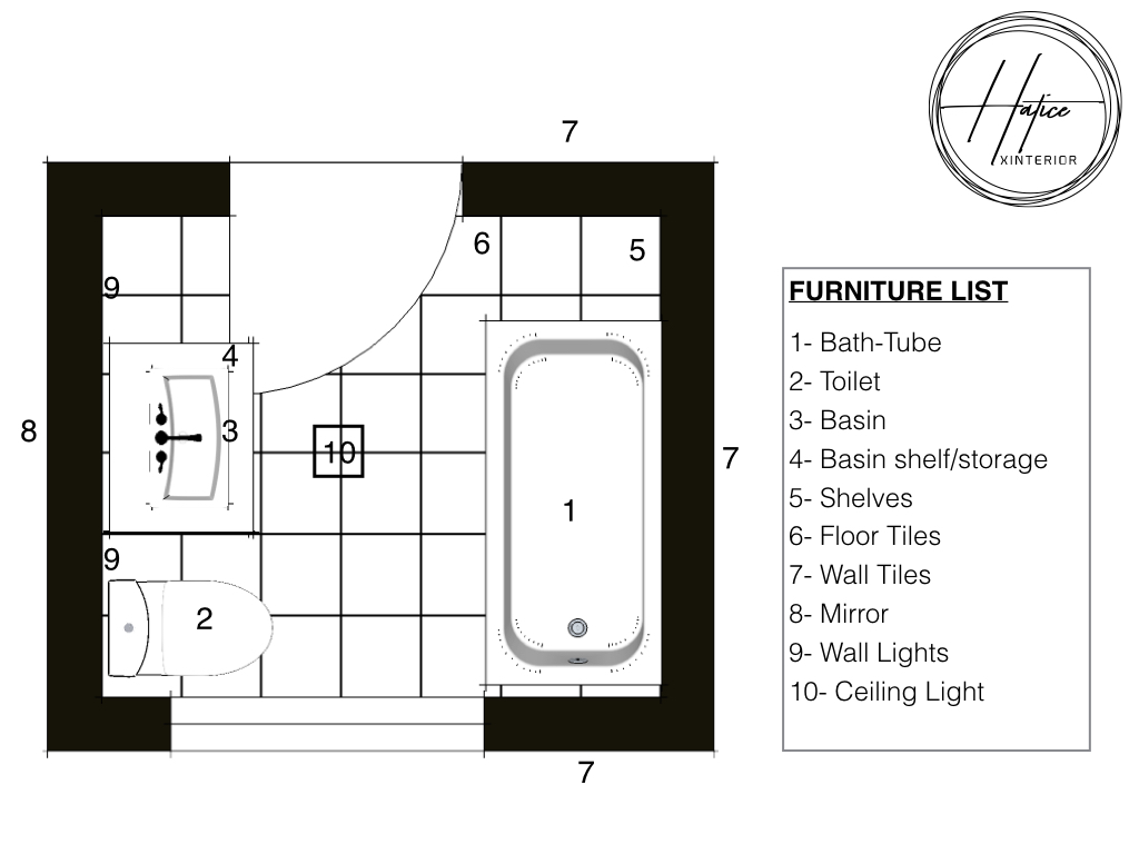 Technical drawing of the furniture layout. Alternative 01.