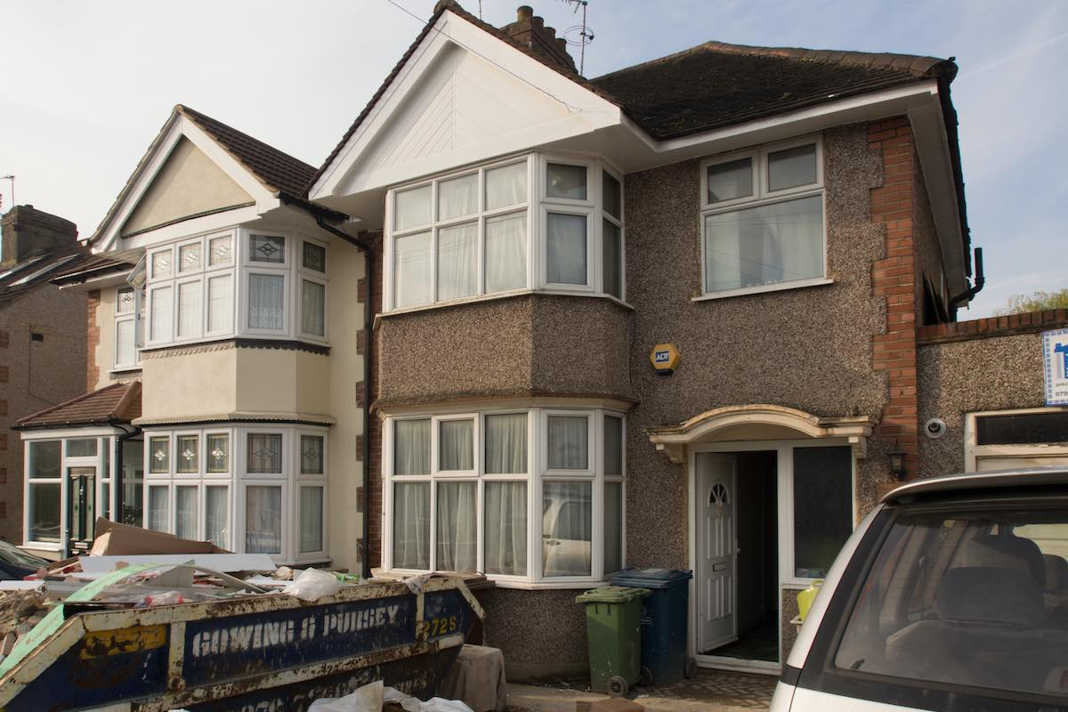 House having skip for interior remodelling and renovation.