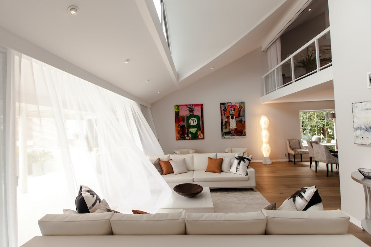 Interior view of a home rear extension.